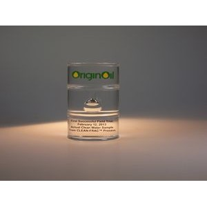 "Oil Drum Acrylic Financial Tombstone (2""dia. x 3"")"