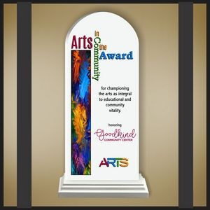 Arch White Budget Line Acrylic Award in a White Wood Base with Color Printing