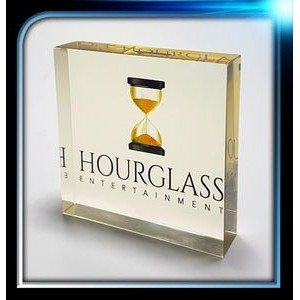 "Corporate Series Gold Acrylic Square Paperweight (3 1/4""x3 1/4""x3/4"")"