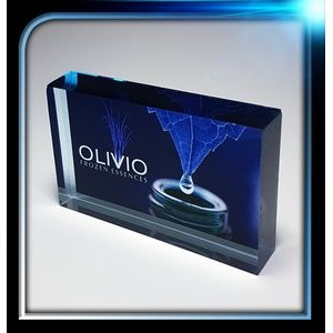 "Corporate Series Blue Acrylic Rectangle Paperweight (4""x2 1/2""x3/4"")"