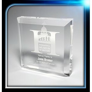 "Corporate Series Acrylic Square Paperweight w/Bevel on Top (3""x3""x3/4"")"