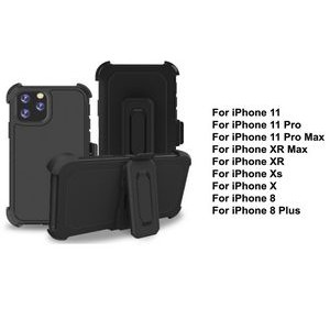 iBank® iPhone 11 Pro Max Shockproof Case with Belt Clip and a kickstand (Black)