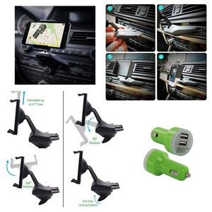 iBank(R) CD Slot Smartphone Holder + Car Charger (Green)