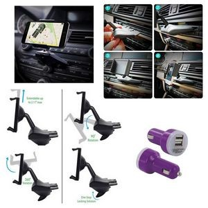 iBank(R) CD Slot Smartphone Holder + Car Charger (Purple)