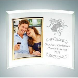 Curved Vertical Gold Photo Frame Jade Glass Award (Small)