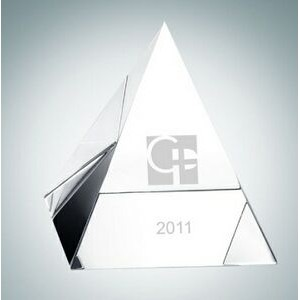 "Clear Pyramid Crystal Paper Weight (2 1/8"")"