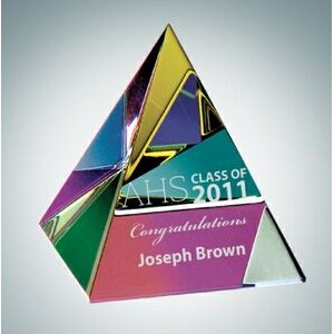 "Color Coated Pyramid Crystal Paper Weight (2 1/8"")"